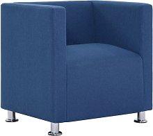 vidaXL Cube Armchair Blue Fabric - Blue