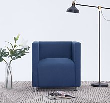 vidaXL Cube Armchair Blue Fabric