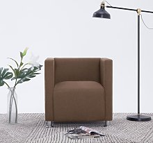 vidaXL Cube Armchair Brown Fabric