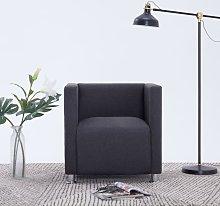 vidaXL Cube Armchair Dark Grey Fabric