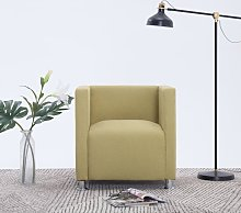 vidaXL Cube Armchair Green Fabric