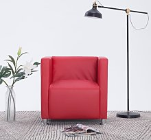 vidaXL Cube Armchair Red Faux Leather