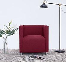 vidaXL Cube Armchair Wine Red Fabric