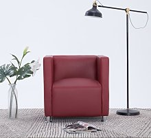vidaXL Cube Armchair Wine Red Faux Leather