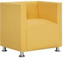 vidaXL Cube Armchair Yellow Fabric - Yellow