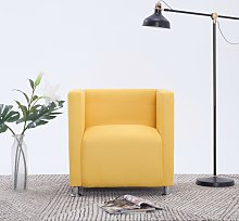 vidaXL Cube Armchair Yellow Fabric