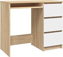 vidaXL Desk 90x45x76 cm Chipboard White and Sonoma