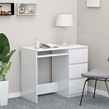 vidaXL Desk High Gloss White 90x45x76 cm Chipboard