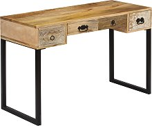 vidaXL Desk Solid Mango Wood and Real Leather