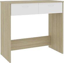 vidaXL Desk White and Sonoma Oak 80x40x75 cm