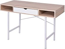 vidaXL Desk with 1 Drawer Oak and White Office