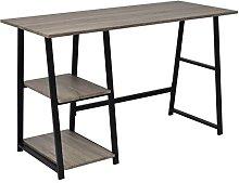 vidaXL Desk with 2 Shelves Grey and Oak Office