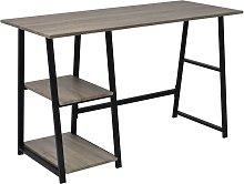 vidaXL Desk with 2 Shelves Grey and Oak
