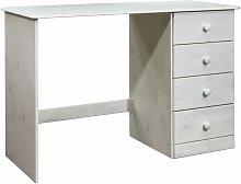 vidaXL Desk with 4 Drawers 110x50x74 cm Solid Pine