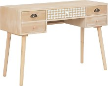 vidaXL Desk with 5 Drawers 114x40x75.5 cm Solid