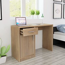 vidaXL Desk with Drawer and Cabinet Oak 100x40x73