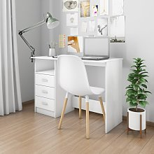 vidaXL Desk with Drawers White 110x50x76 cm