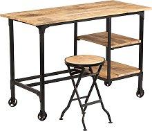 vidaXL Desk with Folding Stool Solid Mango Wood