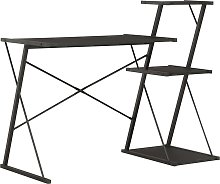 vidaXL Desk with Shelf Black 116x50x93 cm