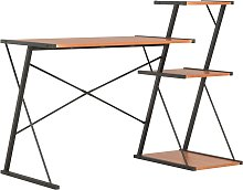 vidaXL Desk with Shelf Black and Brown 116x50x93 cm