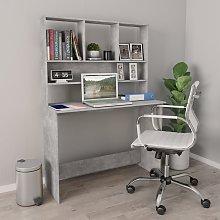 vidaXL Desk with Shelves Concrete Grey 110x45x157