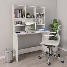 vidaXL Desk with Shelves High Gloss White