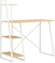 vidaXL Desk with Shelving Unit White and Oak