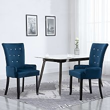 vidaXL Dining Chair with Armrests Dark Blue Velvet
