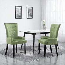 vidaXL Dining Chair with Armrests Light Green