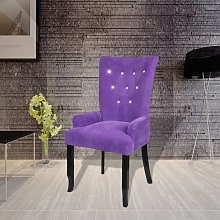 vidaXL Dining Chair with Armrests Purple Velvet