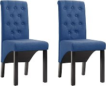 vidaXL Dining Chairs 2 pcs Blue Fabric