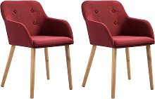 vidaXL Dining Chairs 2 pcs Wine Red Fabric and