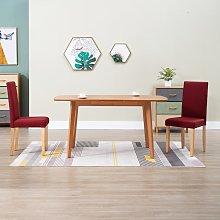 vidaXL Dining Chairs 2 pcs Wine Red Fabric