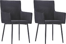 vidaXL Dining Chairs with Armrests 2 pcs Black