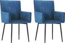 vidaXL Dining Chairs with Armrests 2 pcs Blue