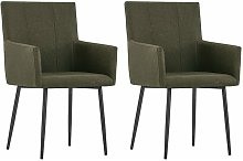 vidaXL Dining Chairs with Armrests 2 pcs Brown