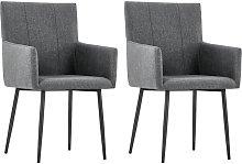 vidaXL Dining Chairs with Armrests 2 pcs Dark Grey