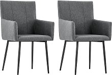 vidaXL Dining Chairs with Armrests 2 pcs Dark Grey