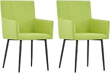 vidaXL Dining Chairs with Armrests 2 pcs Green