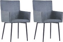 vidaXL Dining Chairs with Armrests 2 pcs Grey Faux