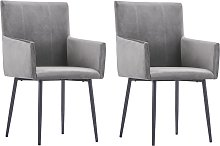 vidaXL Dining Chairs with Armrests 2 pcs Grey