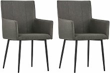 vidaXL Dining Chairs with Armrests 2 pcs Taupe