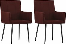 vidaXL Dining Chairs with Armrests 2 pcs Wine Red