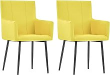 vidaXL Dining Chairs with Armrests 2 pcs Yellow