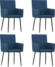 vidaXL Dining Chairs with Armrests 4 pcs Blue