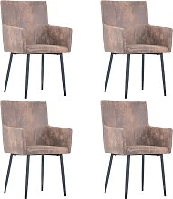 vidaXL Dining Chairs with Armrests 4 pcs Brown