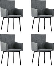 vidaXL Dining Chairs with Armrests 4 pcs Dark Grey