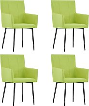 vidaXL Dining Chairs with Armrests 4 pcs Green