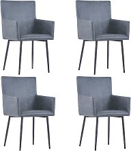vidaXL Dining Chairs with Armrests 4 pcs Grey Faux