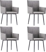vidaXL Dining Chairs with Armrests 4 pcs Grey